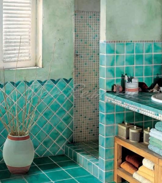Piastrelle cucina verde acqua